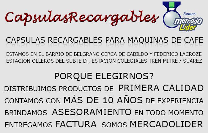CAPSULAS RECARGABLES Calidad Garantizada!. Hacemos factura C. Estamos en Belgrano (cerca de Lacroze y Cabildo). Capsulas recargables para Nespresso, Dolce Gusto, Senseo. Descalcificador antisarro para maquinas de cafe.